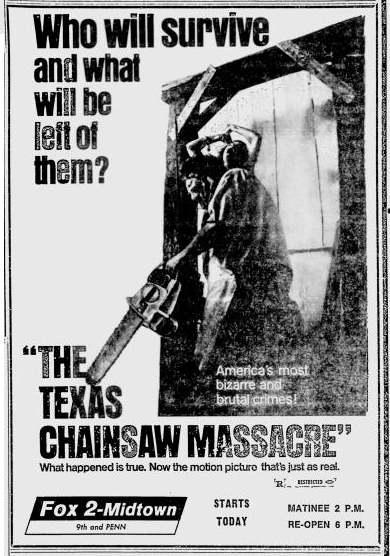 Texas Chainsaw - 1974 - Reading Eagle